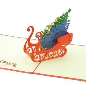 ステーショナリー 3Dポップアップカード クリスマスシリーズ そり