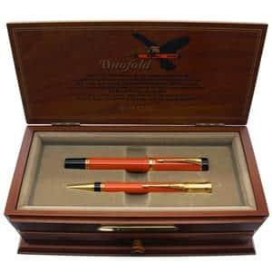 セット デュオフォールド オレンジ 1990 特別万年筆(F)+メカニカルペンシル0.9mm