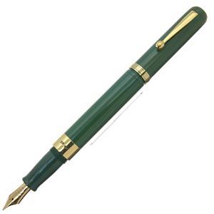 万年筆 手作り万年筆 同軸モデル スタンダードサイズ 太軸 エボナイト グリーン 18金無垢リング 中字